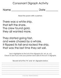 digraph sh wh th ch poem activity stuff pinterest