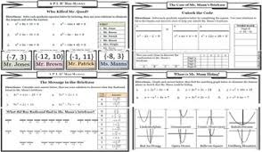 solving quadratic equations mystery value set by ready made resources