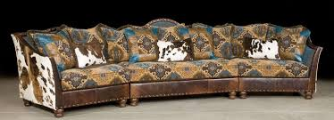 Western Style Furniture Pony And Teal Blue Sectional Sofa Couch Leather Patchwork
