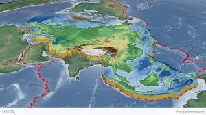 Tectonic Plate Map Eurasian Tectonic Plate Bumps Shaded Stock Animation 6635795