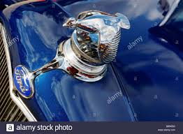 the flying quail ornament on a model a ford stock photo