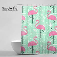 Trendy Shower Curtains Tropical Trendy Pattern Shower Curtain Pink Flamingos Mint Green