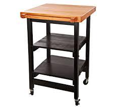 folding island kitchen cart folding island kitchen cart w butcher block style top page 1 qvc com
