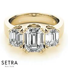 fine emerald rings images 18k fine gold 3 stone emerald cut diamonds semi mount engagement jpg