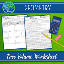 volume of cylinders cones and spheres worksheets by the clever clover
