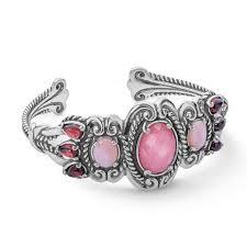 bracelet pink images Tassels sterling silver shades of pink gemstones cuff bracelet jpg