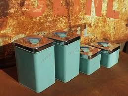 retro kitchen canisters set vintage 50s kitchen decor vintage 1950 s turquoise and chrome