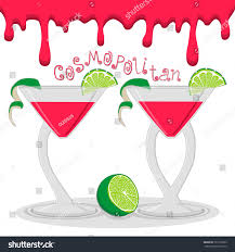 martini cosmopolitan vector illustration logo alcohol cocktails martini stock vector
