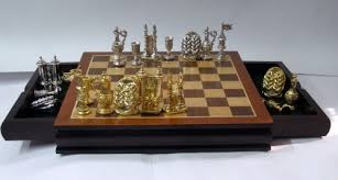 luxury chess set sterling silver and gilded sabbath motif chess set