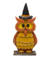 halloween wooden owl with witch hat statue halloween decorations