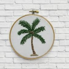 home decor trees palm tree hoop wall art hand embroidered home decor gift for