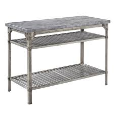 Industrial Style Kitchen Island Urban Style Kitchen Prep Table Concrete Top Clear Coated Rusted