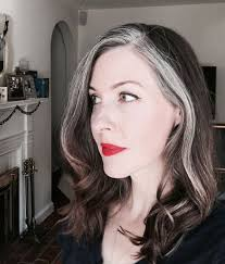 hairstyles with grey streaks image result for images 50 year old women brunette streaks of grey
