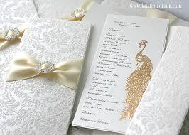 wedding invitations embossed flocked paper gold embossed peacock wedding invitation with