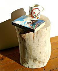 Log Side Table Oak Log Side Table