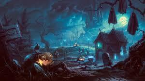 download 2560x1440 halloween graveyard pumpkins vampire