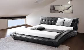 beliani leather water bed super king size full set lille