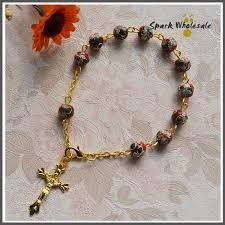 rosary bracelets 12pcs lot religious jewelry holy 8mm black cloisonne rosary bracelet