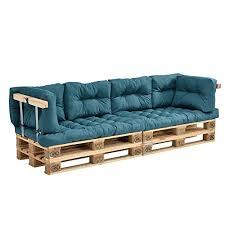 casa canapé en casa canapé de palettes 2 siège avec coussins turquoise