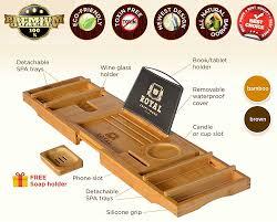 Bathtub Book Tray Luxury Bathtub Caddy Tray Natural Color Royal Craft Wood Eco