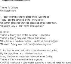 thanks to calvary christian gospel song lyrics and chords