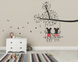 Minnie Mouse Easter Stickers Mickey Mouse Minnie Tree Swing Wall Sticker Wall Decal