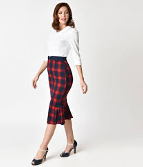pencil skirt voodoo vixen 1950s style plaid pleated frenchie pencil skirt