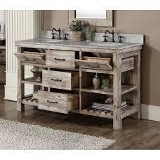 accos 60 inch rustic double sink bathroom vanity marble top