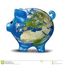 European World Map by Europe Economic Crisis As World Map Piggy Bank Stock Photography