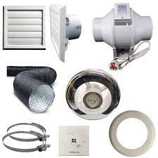 timer pir light inline extractor kit 100mm 4 back draught shutter