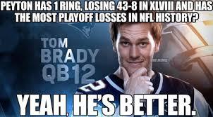 Peyton Manning Tom Brady Meme - clown show denver media won t stop insisting peyton manning is