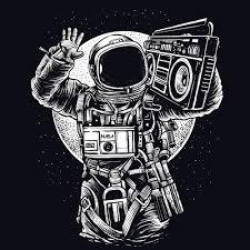 astronaut boombox t shirt textual tees