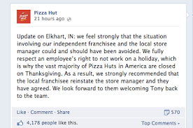 pizza hut says firing of manager who refused to work thanksgiving