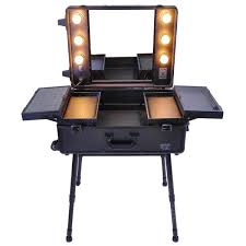 Light Up Vanity Desk Pro Rolling Studio Cosmetic Makeup Case With Light Color Opt
