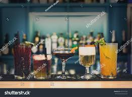 closeup row creative sweet exotic nonalcoholic stock photo