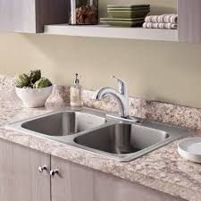 American Standard Stainless Steel Kitchen Sink by Colony Top Mount Ada 33x22 Double Bowl Stainless Steel 3 Hole