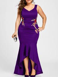 plus size v neck sleeveless mermaid dress in purple 5xl