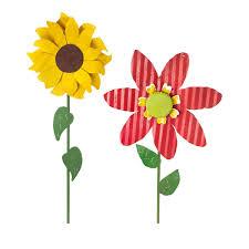 Metal Garden Art Oversized Tin Flowers Sunflower U0026 Zinnia Metal Garden Art