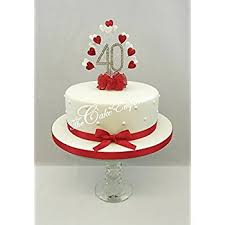 wedding anniversary cakes cake decoration ruby 40th wedding anniversary diamante cake topper