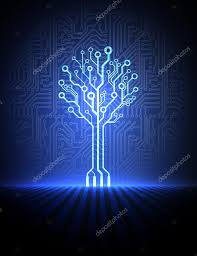 vector circuit board background with electronic tree eps10 stock