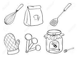 white kitchen utensils illustration of a doodle set baking powder white kitchen utensils