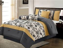 Black And White Queen Bed Set Amazon Com 7 Piece Luxury Yellow Black White Grey Floral