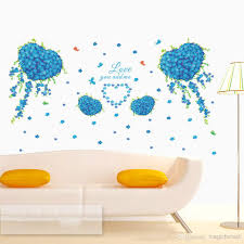blue flowers with love heart shape butterfly wall decal you blue flowers with love heart shape butterfly wall decal you and quote mural living room bedroom romantic stickers decor