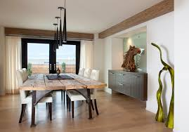rustic foyer table dining room contemporary with green sculpture