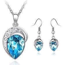 earring necklace rhinestone images White gold filled rhinestone fine jewelry set free shipping jpg
