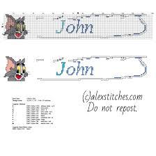 cross stitch baby male john tom tom jerry