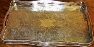 engraved serving tray 19c sheffield plated silver heavily engraved galleried
