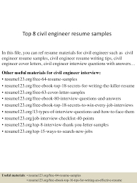 Civil Resume Sample by Top8civilengineerresumesamples 150424212259 Conversion Gate02 Thumbnail 4 Jpg Cb U003d1429928633