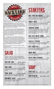 menu backyard bbq u0026 booze