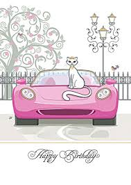 cat birthday card by bug pink car cards crowther